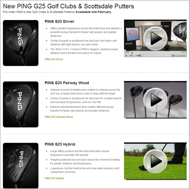 New Ping G25 Clubs and Scottsdale TR Putters at Golfsmith.com